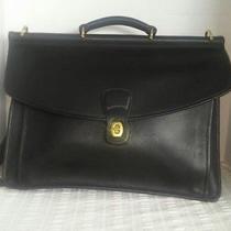 Vintage Unisex Briefcase Business Laptop Bag Black Leather Photo