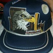 Vintage United States Express Mail Next Day Eagle Blue Trucker Snapback Hat Cap Photo