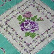 Vintage Unused 1940's Pink Purple Aqua Teal Blue Roses Floral Hankie 606 Photo