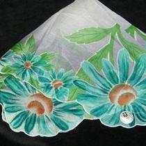 Vintage Unused 1940's Scallop Aqua Teal Blue Daisies on Lavender Hankietags581 Photo