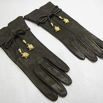 Vintage Valentino Brown Calfskin Turtle Charm Bow Wrist Gloves 7-Never Worn Photo