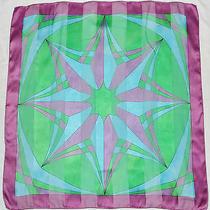 Vintage Valentino Designer Geometric Purple Blue Green Chiffon Satin Silk Scarf Photo