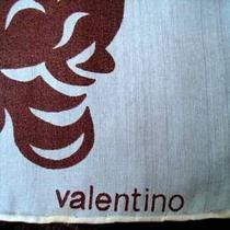 Vintage  Valentino Silk Scarf 1970s Brown Cream Print  Large  Photo