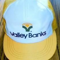 Vintage Valley Banks - Yellow Snapback Truckers Hat / Baseball Cap - Usa - Foam Photo