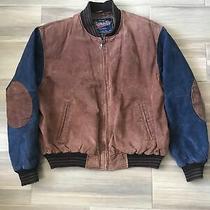 Vintage Varsity Jacket Leather Blue Size Large Photo