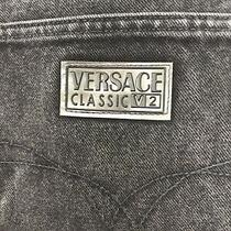 Vintage Versace Classic V2 Black Mens Denim Jeans Size 48 Silver Buttons Photo
