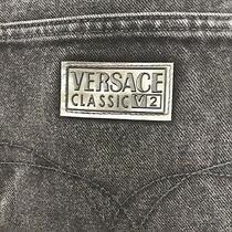 Vintage Versace Classic V2 Black Mens Denim Jeans Size 48 Silver Buttons Photo