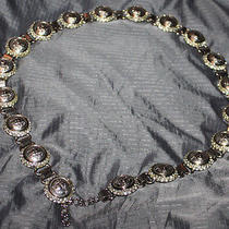 Vintage  Versace Medusa Silver Chain Belt Link Rare Bling Signed Necklace Fab Photo