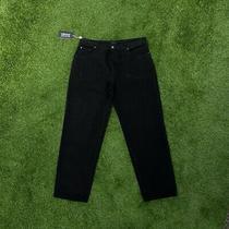 Vintage Versace Straight Wide Leg Black Denim Jeans W36 L32 Photo