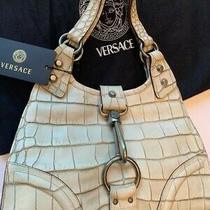 Vintage Versace White Distressed Croco Handbag New Nickel Hardware Rare Photo