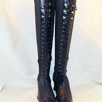 Vintage via Spiga Italy Super Sexy Black Laced Up Knee High Stretch Boots 7.5 B Photo