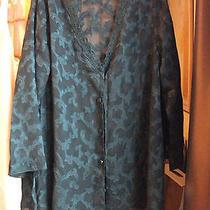 Vintage Victorias Secret Lingerie Sheer Bed Jacket & Bikini Panty Emerald Green Photo