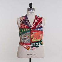 Vintage Waist Coat Vest Xl Colorful Patchwork Traveling Motif Photo