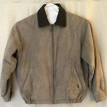 Vintage Weatherproof Tan Brown Faux Suede Bomber Jacket Men's Size Large Lined Photo