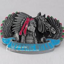 Vintage Western Sitting Bull Chief Native American Indian Metal Belt Buckle Mens Photo