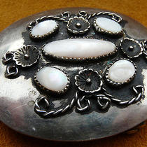 Vintage Western Style Native American Indian Mother of Pearl Belt Buckle Photo