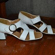 Vintage White Sandals Heels Vinyl or Patent Fantasy by Vogue Size 7n Photo
