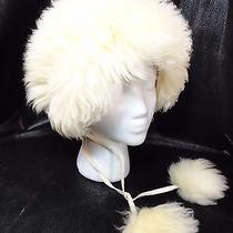 Vintage White Shearling Tuscan Lamb Fuzzy Shaggy Pompom Ski Winter Hat Italy  Photo