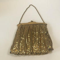 Vintage Whiting and Davis Gold Mesh Chain Handbag Purse Evening Bag With Mirror Photo