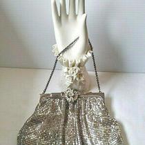 Vintage Whiting & Davidson Silver Mesh Purse Bag W/ Metal Strap  Photo