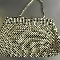 Vintage Whiting & Davis Alumesh Off White Handbag Purse Black Lining  Photo