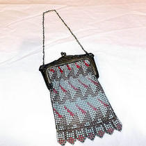 Vintage Whiting & Davis Art Deco Metal Mesh Enameled Purse  Photo