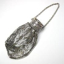 Vintage Whiting & Davis Flapper Silver Mesh Wrist Purse Evening Bag Photo