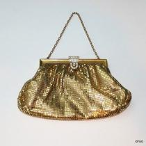 Vintage Whiting & Davis Gold Mesh Bag Clutch Rhinestone Clasp Chain Strap Gatsby Photo