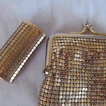 Vintage Whiting & Davis Gold Metal Mesh Cigarette/glasses and Lighter Case Photo