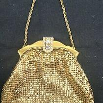 Vintage Whiting & Davis Gold Metal Mesh Purse With Rhinestone Clasp Photo