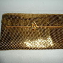 Vintage  Whiting & Davis  Gold Metal Mesh & Rhinestones Clutch Purse Evening Bag Photo