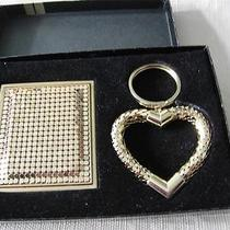 Vintage Whiting & Davis Gold Tone Mesh Compact Mirror & Heart Key Ring Nib Photo
