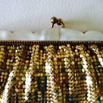 Vintage Whiting & Davis Gold Tone Mesh Evening Bag Clutch Mother of Pearl Nice Photo