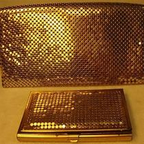 Vintage Whiting & Davis Gold Tone Metal Mesh Check Book Cover & Credit Card Hol Photo