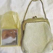 Vintage Whiting & Davis Gold White Mesh Beaded Handbag Purse With Mirror Win Photo