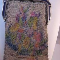 Vintage Whiting Davis Mesh Purse Bag Purple Enamel Frame Art Deco Orig Mirror Photo