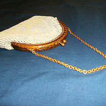 Vintage Whiting & Davis Mesh Purse Ivory Color Great for Prom Photo