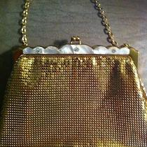 Vintage whiting&davis Mesh Purse With Rhinestones and Mother of Pearl Photo