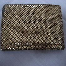 Vintage Whiting & Davis Metallic Gold Mesh Wallet Billfold Perfect for Gift Card Photo