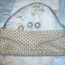Vintage Whiting & Davis Signed Handbag &  Earrings Circa 40's Interlocking Link Photo