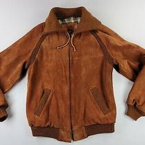 Vintage William Barry Suede Leather Jacket Brown Flannel Lining Mens Sz 40 Long Photo