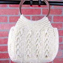 Vintage Winter Handbag Sweater Crochet Knit Wooden Handles Hobo Bucket Lined Photo