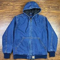 Vintage Wolverine Denim Quilt Lined Hooded Jacket Carhartt Style Medium Blue Photo