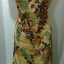 Vintage Woman 13 14 Multi Autumn Color Mid Calf Sleeveless Dress Christy Lyn Photo