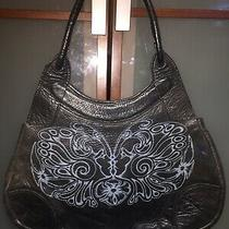 Vintage Womans Large Handmade Black Leather Shoulder Handbag Purse Hobo Tote Photo