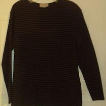 Vintage Women Misses Knit Express Tricot Striped Shirt Top Size L Black Brown  Photo