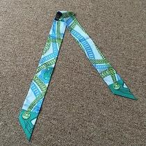 Vintage Women's Authentic Hermes 100% Silk Ribbon Twilly Scarf Pale Blue/green Photo