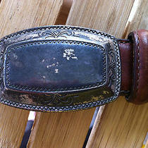 Vintage Women's Brighton Brown Leather Belt Silver Buckle Trim Tooling S Small Photo