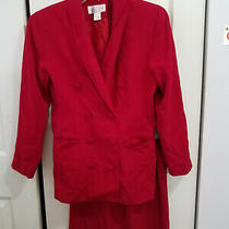Vintage Women's Dress Suit Size 8 P Casual Corner Red Jacket Skirt 1990's Photo