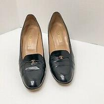 Vintage Women's Gucci Italy Navy Leather High Heel Size 7.5 / 38 B Photo